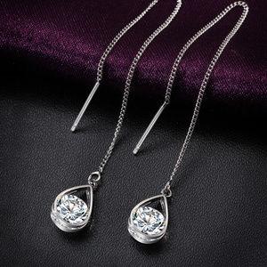 Crystal Chain Earrings, Threader Drop Earrings.